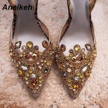 Aneikeh/ весенние пикантные туфли-лодочки модные стразы с бисером в виде бриллиантов; обувь на очень высоком каблуке, туфли на шпильке, острый носок с петлей на пятке; женская обувь