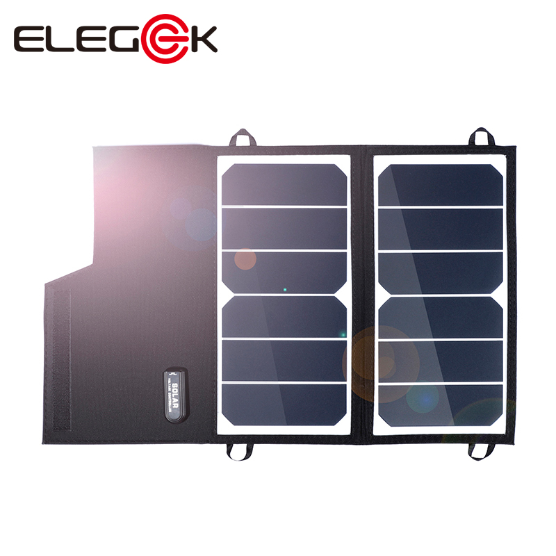 ELEGEEK 12W 5V Folding Foldable Solar Panel Charger Waterproof Solar Charger for Cell Phone Power Bank