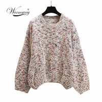 High Quality Hot gold lurex Multicolor Knit Tops Casual Loose Bling Pullover Jumpers Lady Sweater Plus Size C 431