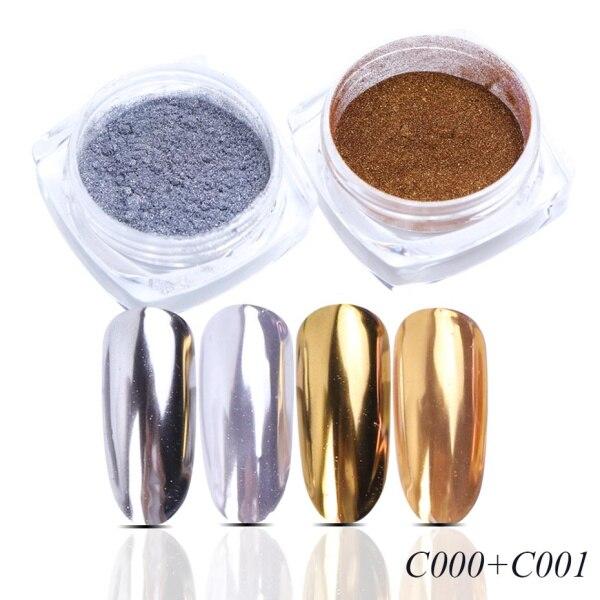Зеркальный лак для ногтей, порошковая голографическая металлическая розовые, золотые, серебряные пылезащитные блестки, УФ-гель для ногтей, хромированное пигментное украшение CHC/ASX - Цвет: C000 C001