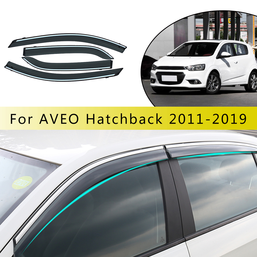 Car Styling Smoke Window Sun Rain Visor Deflectors Guard For Chevrolet Aveo Hatchback 2011 2018 Accessories 4PCS|Awnings & Shelters| |  - title=