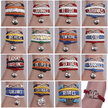 20 American baseball teams bracelet for choose 17cm MLB Chicago Cubs umbrella braided bracelet football fans gift 10pcs