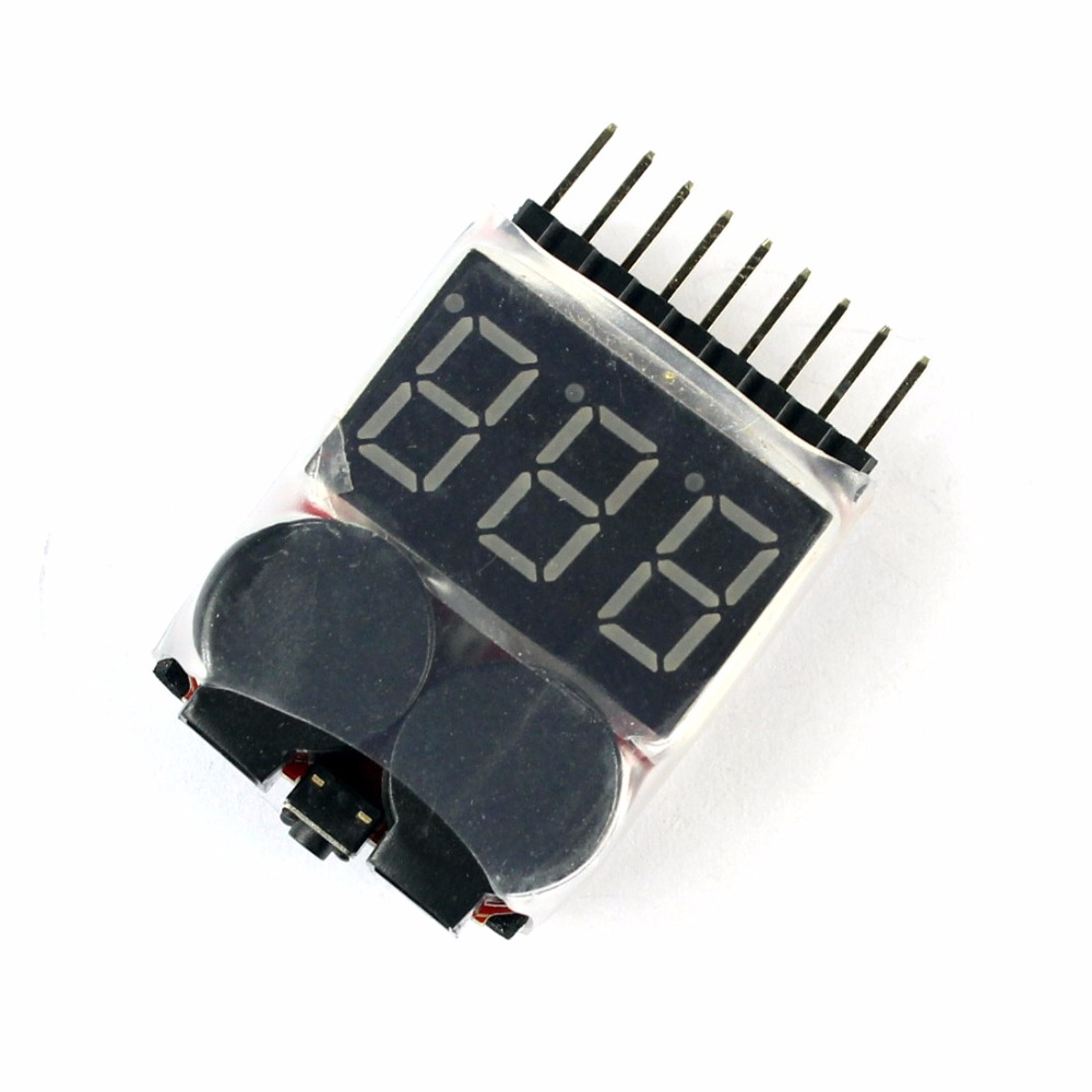 Lipo Battery Voltage Tester Volt Meter Indicator Checker Dual Speaker 1S-8S Low Voltage Buzzer Alarm 2in1 2S 3S 4S 8S +FS F00872