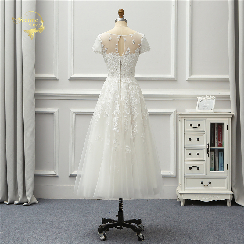Jeanne Love 2019 New Arrival Lace Tea Length Beach Wedding Dresses Short Sleeves Robe De Mariage JLOV75992 Vestido De Noiva in Wedding Dresses from Weddings Events