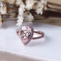 Дюпюи кольцо для Для женщин 14 К розовое золото персик морганит 8*12 мм 2.6ct груша резки кольцо классический воды падение Обручение кольцо D180058