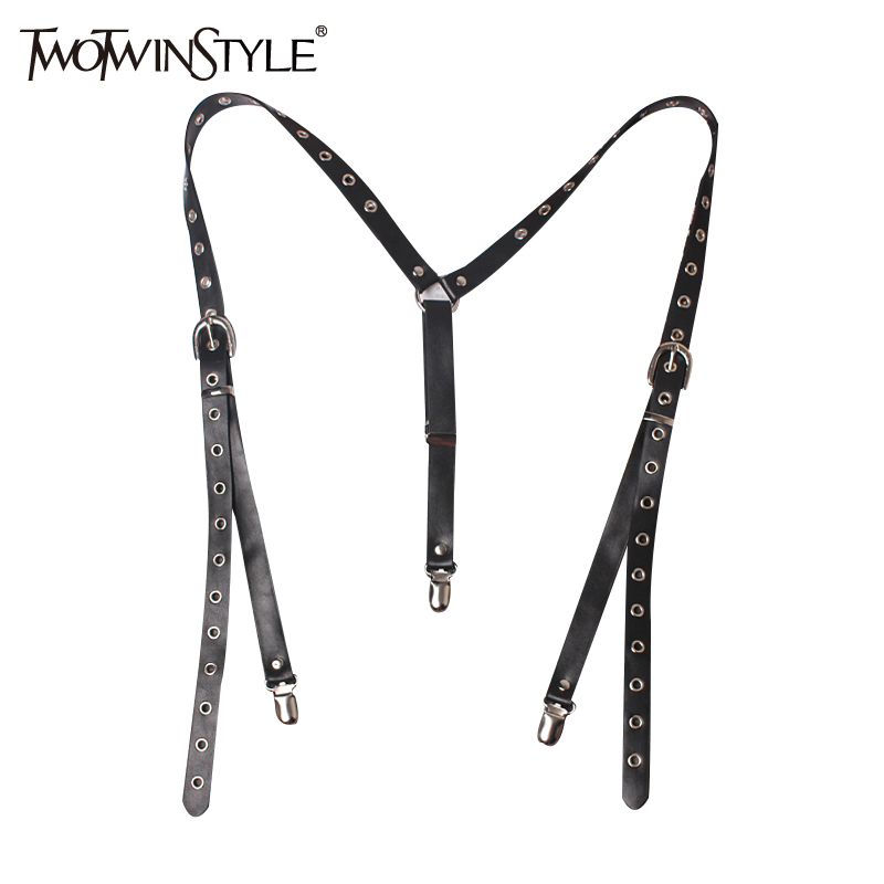 TWOTWINSTYLE Genuine Leather Black Suspenders For Shirt Braces For Women Pants Trousers Skirt  Suspender Belt Man