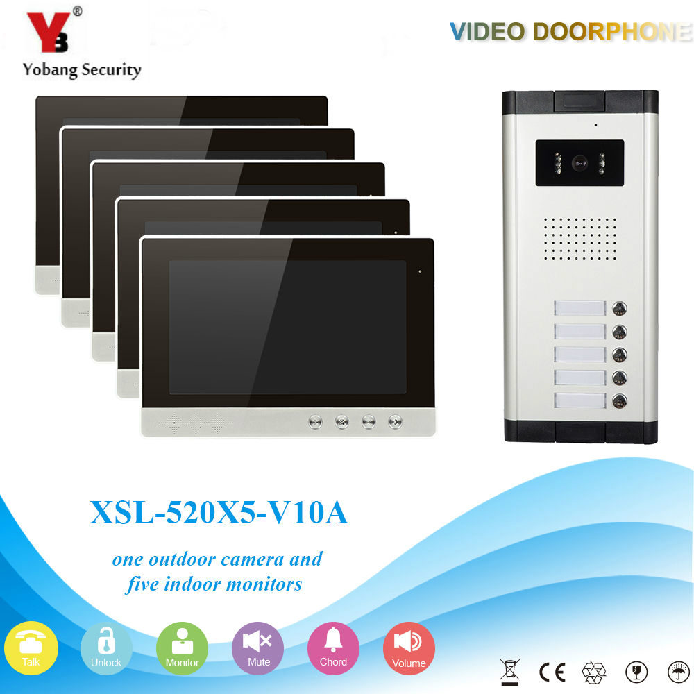 YobangSecurity Video Intercom Monitor 10-Inch Video Doorbell Camera System Intercom Entry Access System for 5 Units Apartment