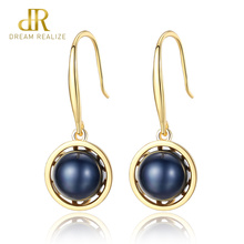 DR Brand New European Genuine Natural Freshwater Pearl 925 Silver Hook Dangle Earrings For Women Party Jewelry