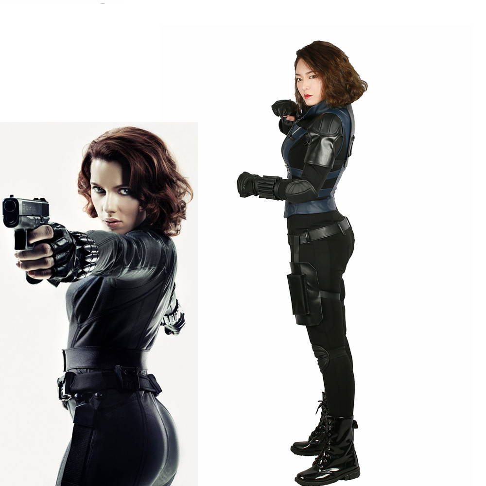 Us 153 53 40 Off X Costume Avengers Infinity War Black Widow Cosplay Full Set Costume Pu Cotton Cool Halloween Cosplay Costume For Women In Movie