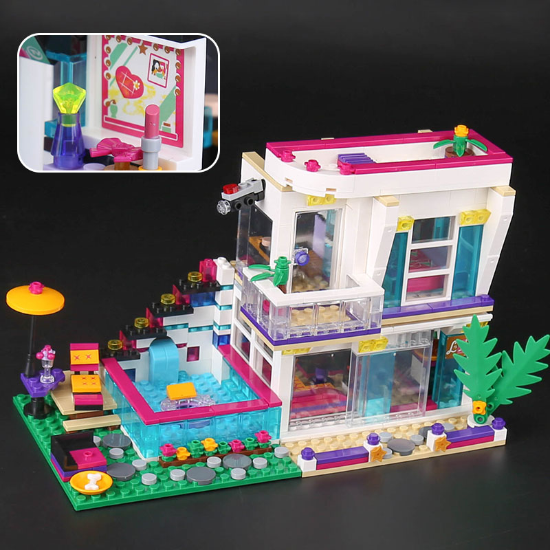 Lepin 01046 Friends Girl Series 644pcs Building Blocks kids toys Livi's POP Star House Designer birthday gifts Compatible 41135 lepin 01046 girls club friends livi s pop star house building blocks compatible with friends house 41135 brick toys