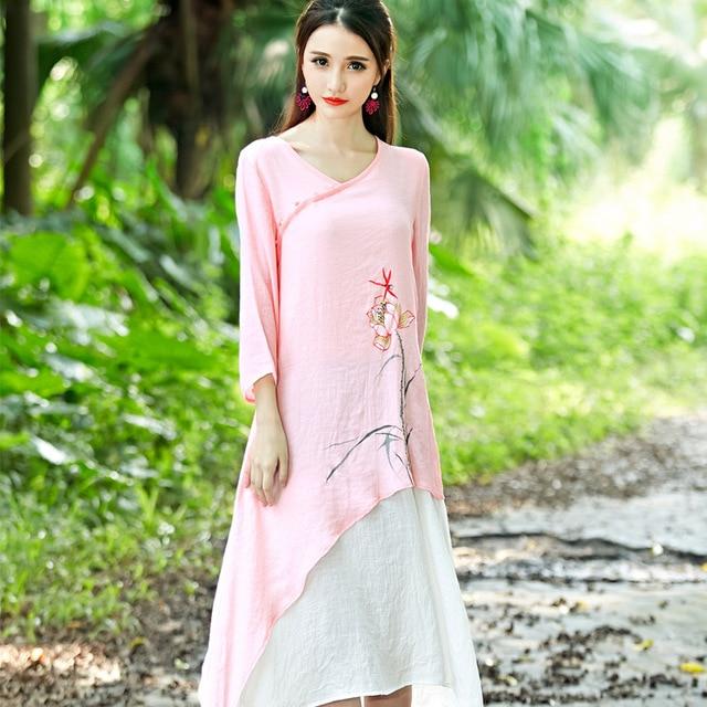 Long Linen Dress V-Neck Long Sleeve Pakistan Arabic Muslim Vintage Maxi  Dress Pink Gray Floral Print Summer Autumn Robes 7dfcad7ae