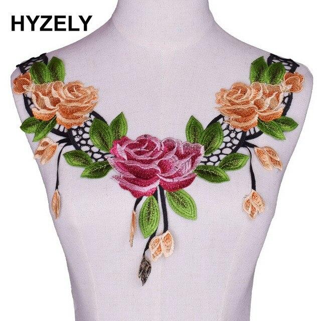 Fine Accessories Decorate Craft Floral Embroidery Colorful Collar Fabric  Trim DIY Lace Fabric Neckline Applique Sewing Craft da138423c4bb