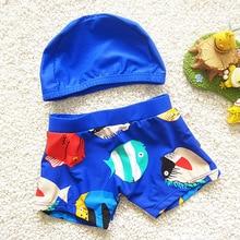 Комплект из 2 предметов, пляжная одежда для купания, шорты для От 2 до 12 лет и мальчиков, летняя одежда для плавания для дайвинга детские плавки с мультяшным принтом для малышей купальный костюм