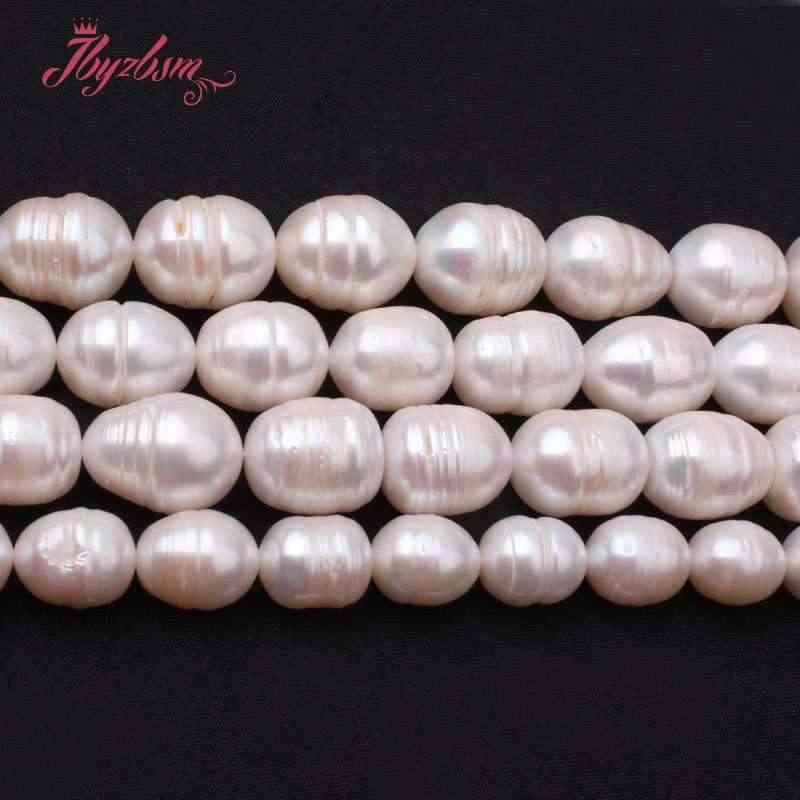 """9-10,12-14 Mm Oval Putih Mutiara Air Tawar Manik-manik Batu Alam Manik-manik untuk Diy Kalung Gelang Perhiasan Membuat 15 """"GRATIS Pengiriman"""