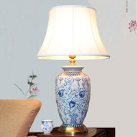 Chinese Pastoral Led E27 Lamp Living Room Bedroom Painting Color Flower And Bird Ceramic Table Lamp
