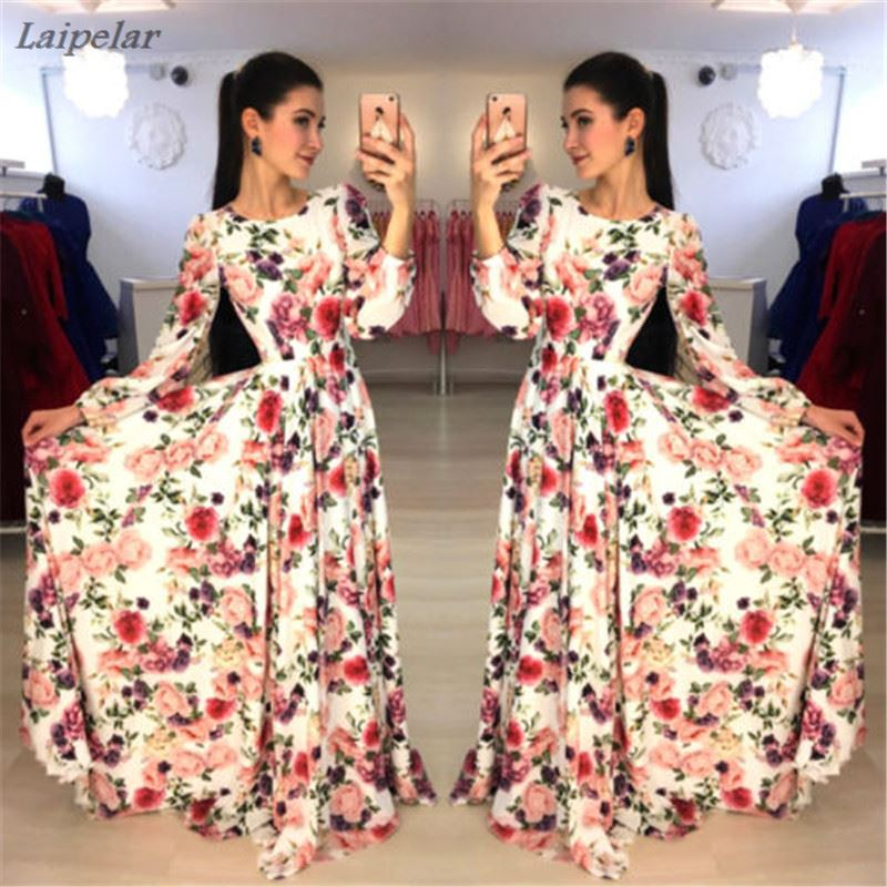 2018 New Boho Fashion Multicolor Women Long Dress Floral Spring Long Sleeve Chiffon Beach Party Wear Female Maxi Dress Vestidos in Dresses from Women 39 s Clothing