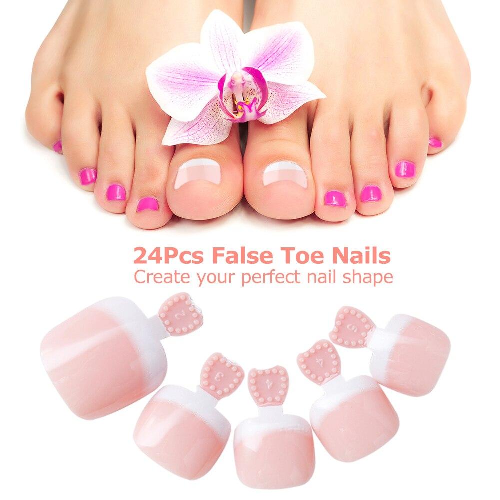 24Pcs False Toenail Tips Set French Full Cover Fake Toe Nail Tips ...