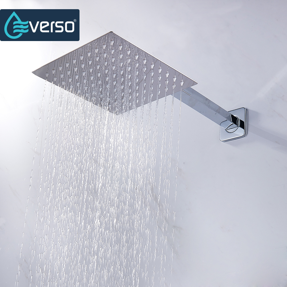 40cm Stainless Steel Square Wall Mounted Bath Rainfall Shower Extension Arm GL
