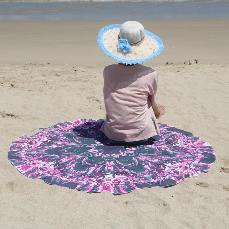 Fashion Multi Color Outdoor Mat Picnic Camping Round Beach Pool Home Shower Towel Blanket Table Cloth Doormat Tapete