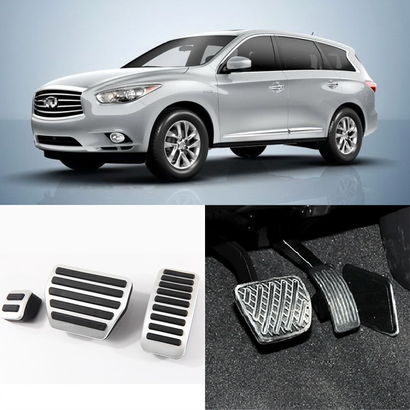 Brand New 3pcs Aluminium Non Slip Foot Rest Fuel Gas Brake Pedal Cover For Infiniti QX60 AT 2014-2016 brand new 3pcs aluminium non slip foot rest fuel gas brake pedal cover for peugeot 508 at 2011 2016