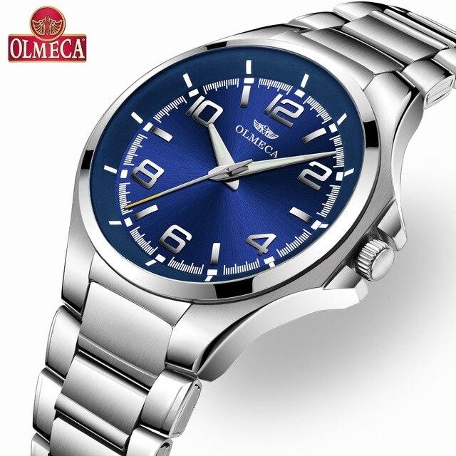 bf21152b7eef Venta caliente OLMECA de marca de lujo Reloj de cuarzo relojes para hombres  muñeca impermeable Reloj