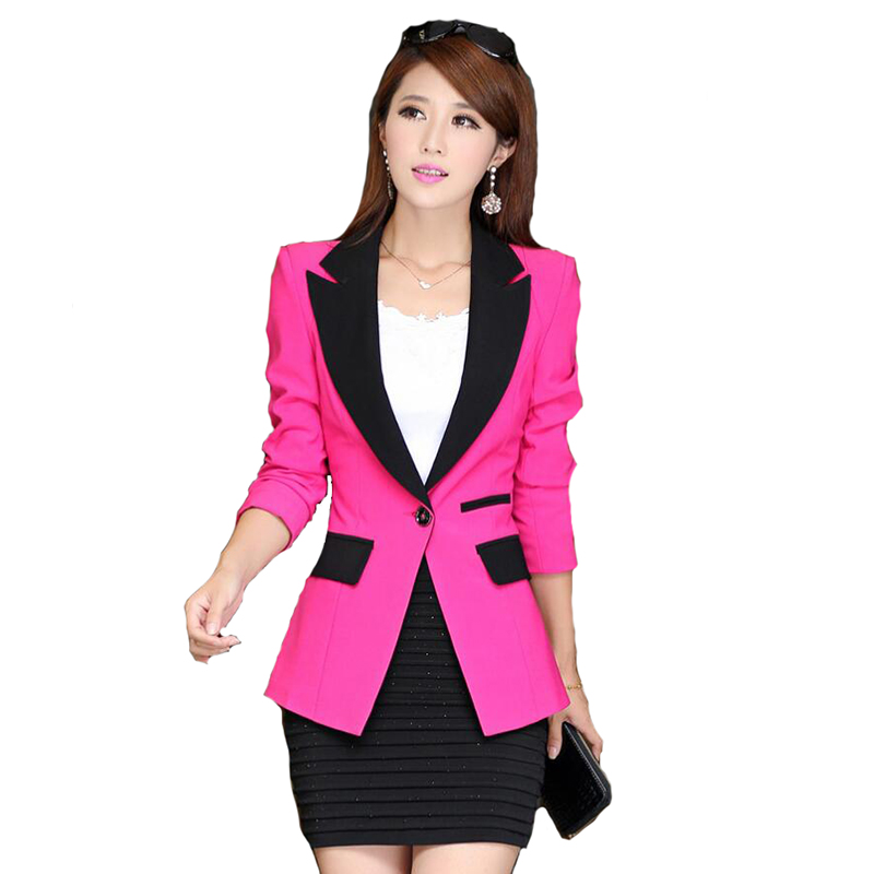 2017 Autumn Patchwork Women Blazer Fashion Single Button Casual Office Blazer For Women  ...