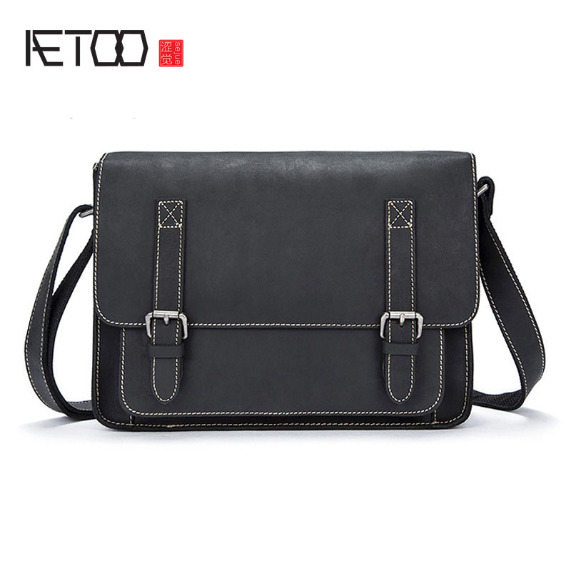 AETOO Crazy horse leather man bag Europe and the United States retro leather bag men's shoulder Messenger bag genuine leather
