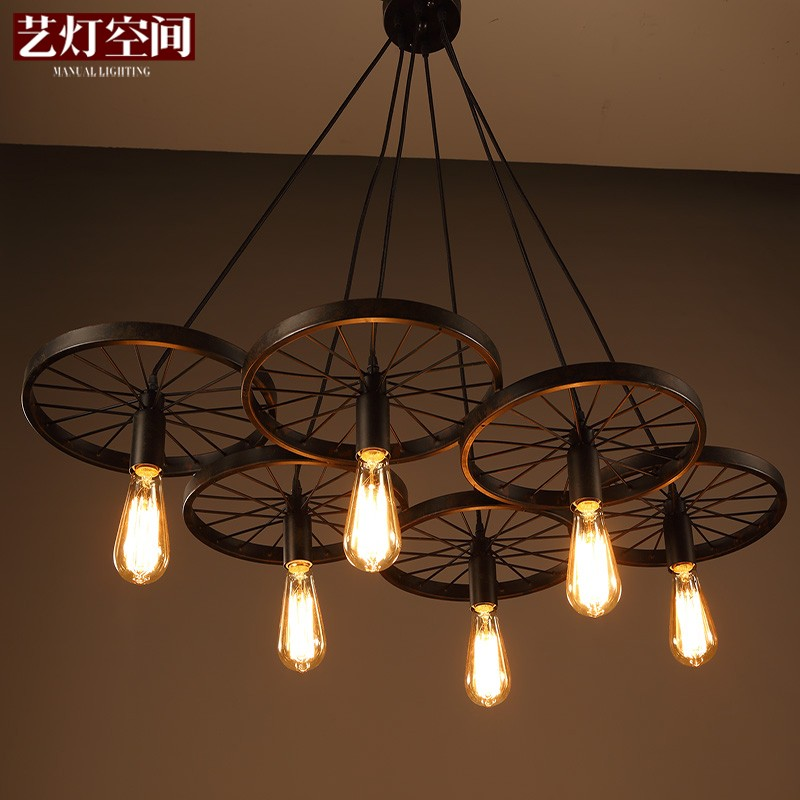 ФОТО loft creative personality retro restaurant bar American country wrought iron chandeliers industrial style wheels