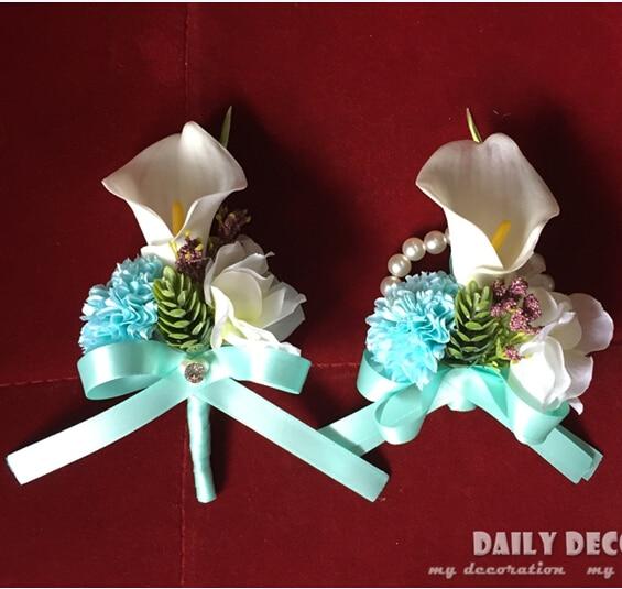 Tiffany blue + white PU calla lily wedding flowers groom corsage ...