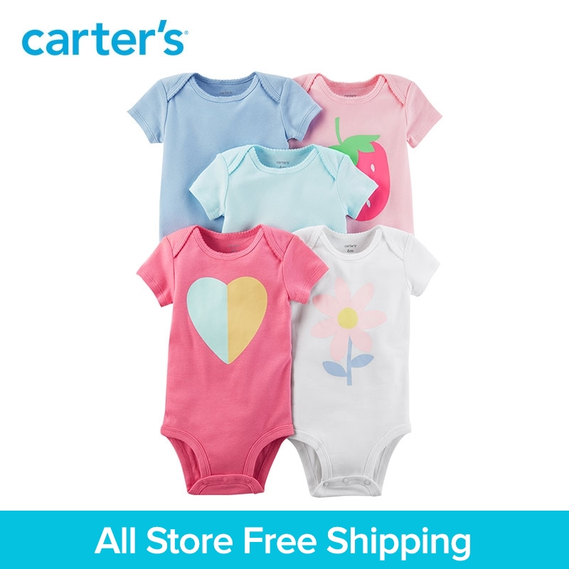 5pcs heart flower strawberry prints Short-Sleeve Cotton Bodysuits clothing sets Carter's baby Girl Summer 126H326 strawberry print panty 5pcs