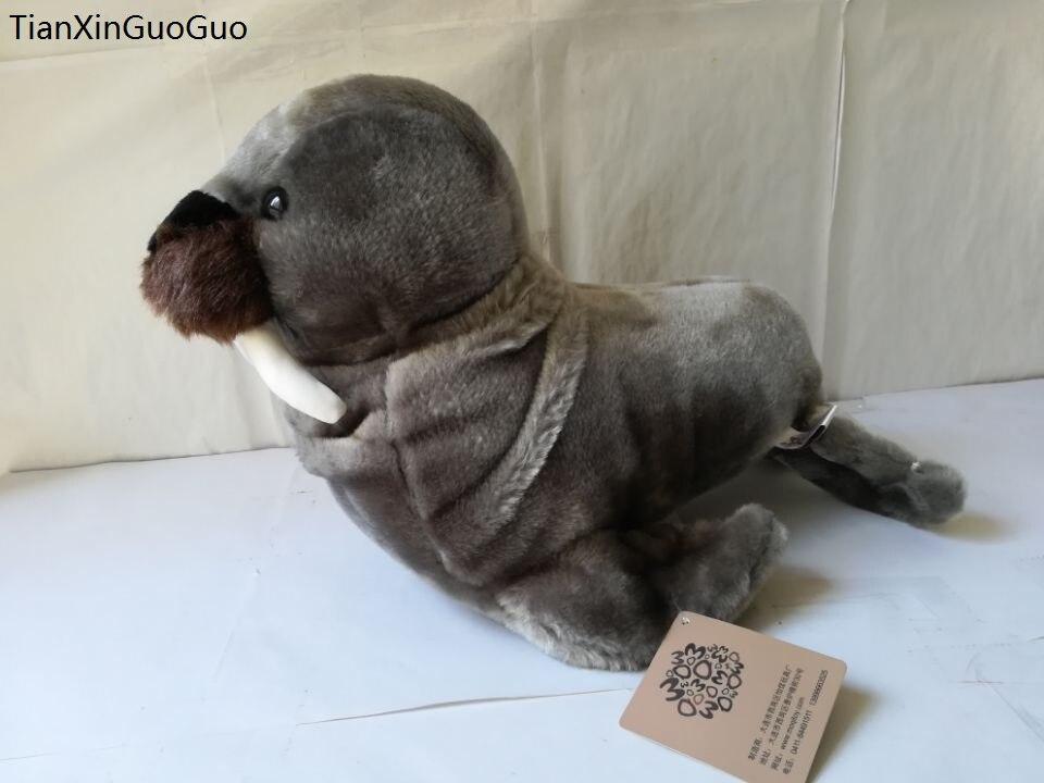 Peluche morse gris foncé grand 40 cm poupée douce oreiller jouet cadeau de noël w0306