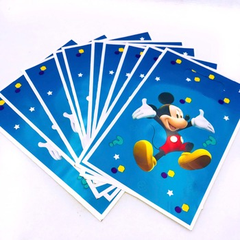 10pcs/set Mickey mouse Gifts Bags Plastic Party Birthday Party Decoration Disposal Kids Boys Event Party Supplies Cartoon Theme image