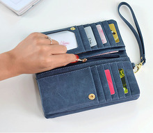 купить Brand Wallet Fashion Women Wallet Double Zipper Female Clutch Purse Froasted PU Leather Money Case Coin Pocket Card Holder дешево