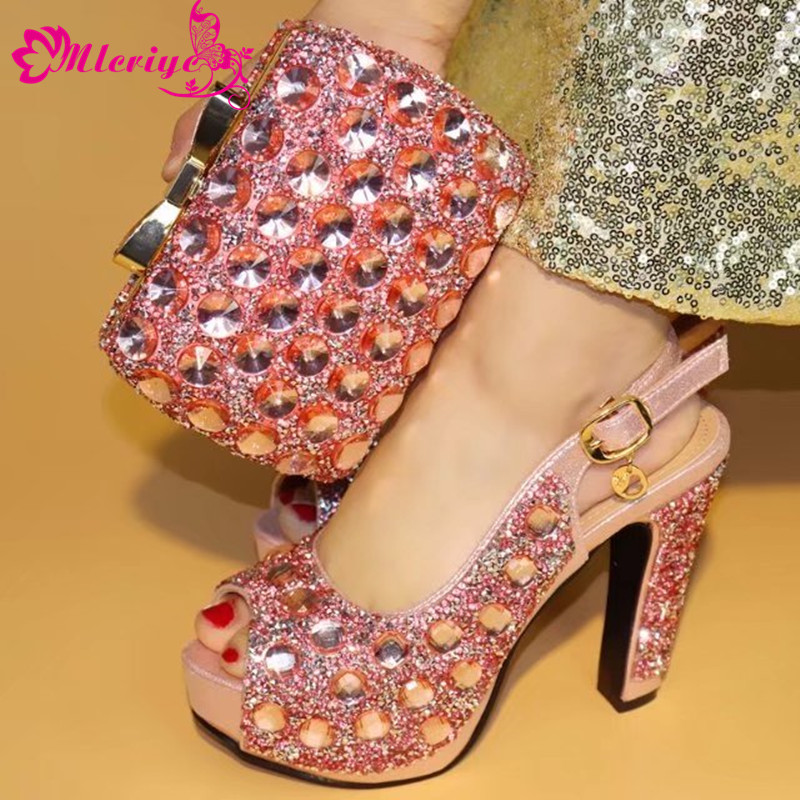 pink Color 12cm Stable Pumps Italian Shoes with Matching Bag African Shoe and Bag Set Italian Design African Shoes and Bag Set цена