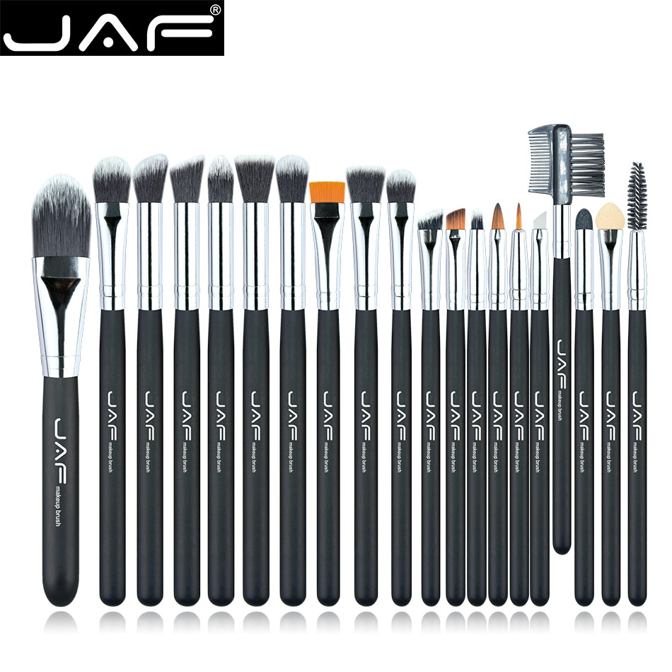 JAF 20Pcs Soft Portable Makeup Eyes Brushes Sets Powder Foundation Contour Concealer Eye Care Wooden Handle Cosmetic Brush Kits filorga optim eyes eye contour