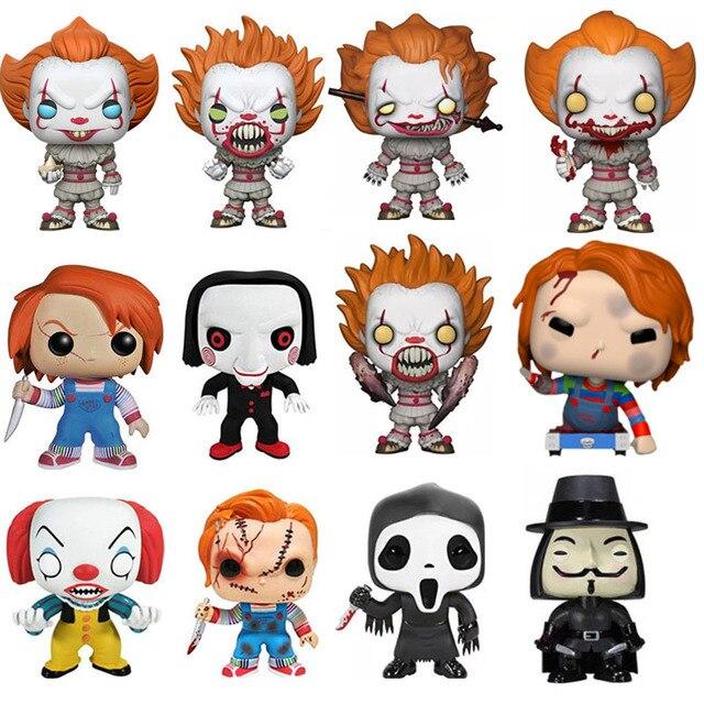 FUNKO POP Filme Stephen King é uma Brincadeira de Criança Viu o Pennywise Chucky V for Vendetta Grito Figura de Ação Brinquedos para as crianças de Natal
