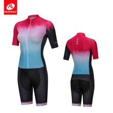 NUCKILY Women's Triathlon suit Short Sleeve Gradient Color Cycling Clothing One Piece Zip GW001 gradient color short sleeve mens sports suit