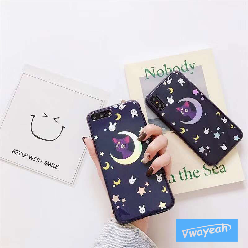 For iPhone x 10 6 7 plus Ins hot Plating Colorful Gradient Laser Blue Light Cartoon Cat Lovely Rabbit Star Moon Mirror Soft Case
