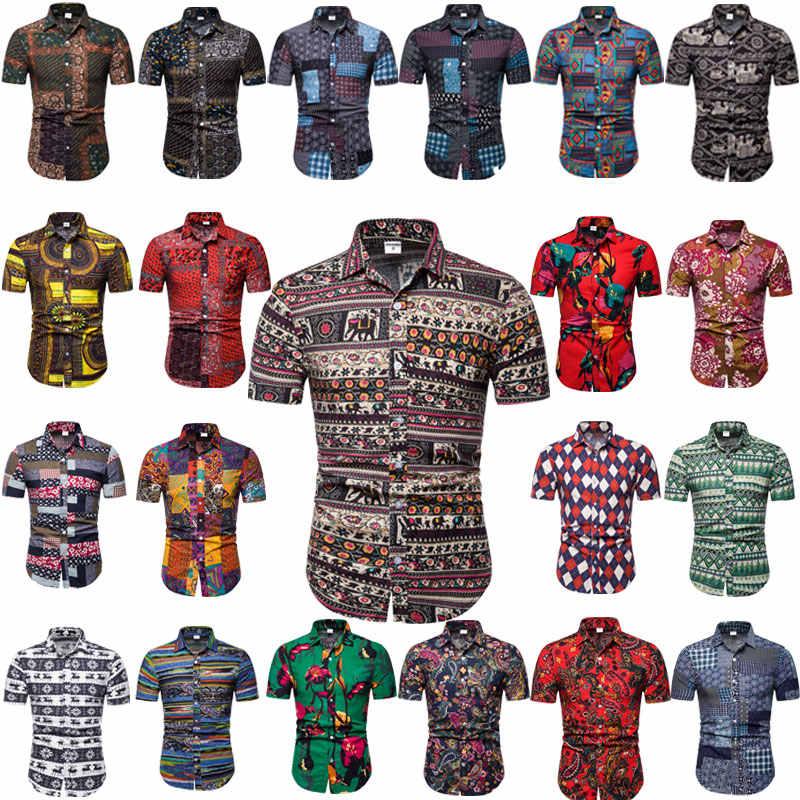 2019 夏はアロハシャツメンズ男性カジュアル花柄ビーチドレスシャツ半袖トップス服プラスサイズ 4XL 5XL