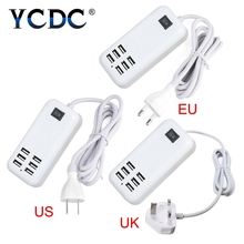 YCDC Travel Home Wall Charger Power Adapter 1.5m 6-Port USB Hub US EU UK Plug 5V 4A Switch LED For iPhone Samsung HTC LG iPod