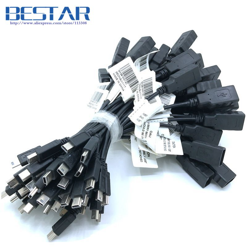 (100pieces/lot) Mini USB 2.0 Male to USB 2.0 Female OTG HOST Connector Cable 20cm Mini-USB 5pin On-The-Go cables ,By DHL