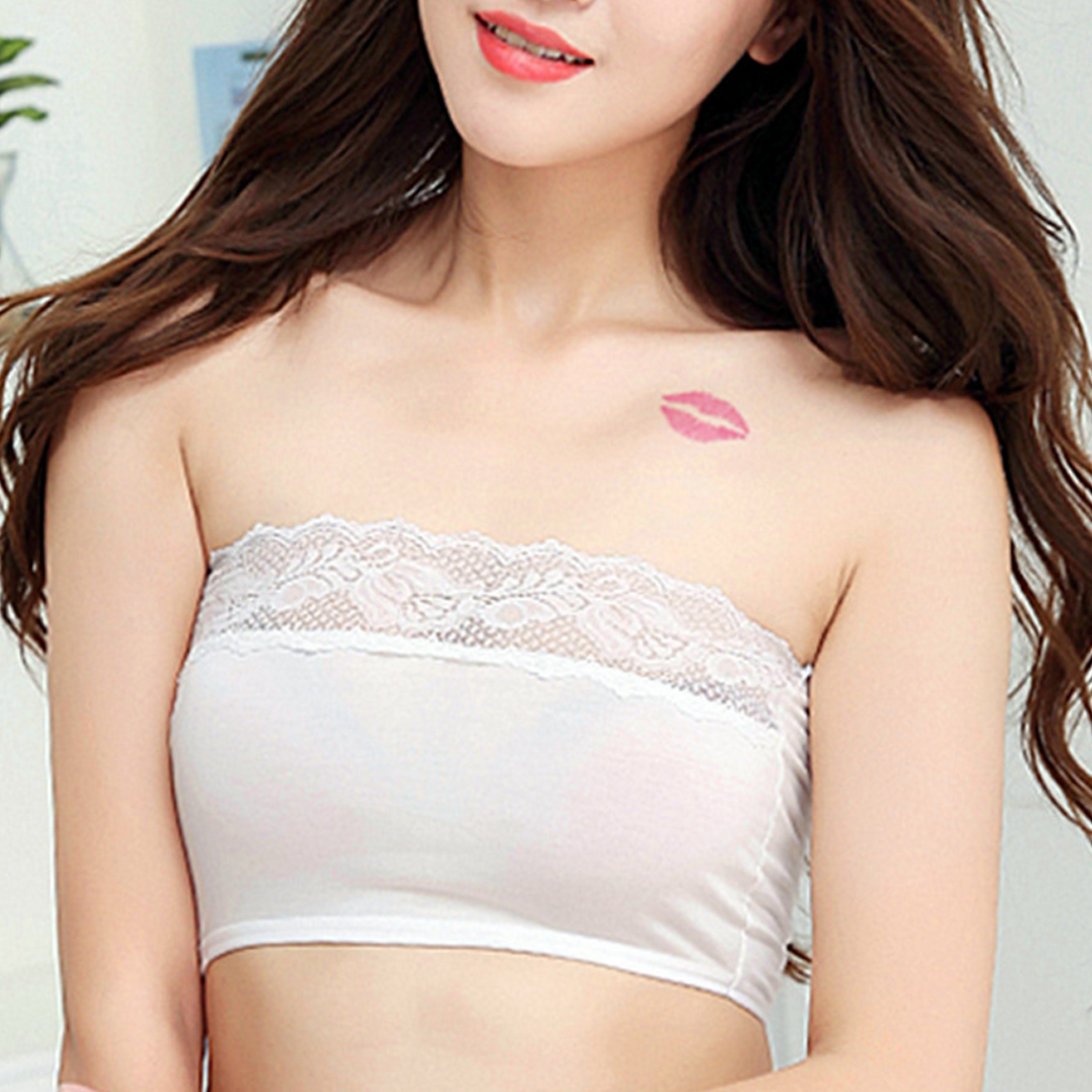 0f8599022957a Strapless Seamless Beauty Back Sexy Lace Embroidery Boob Tube Top Flower  Cotton Bandeau Bra Anti Reveal Women Tube Tops