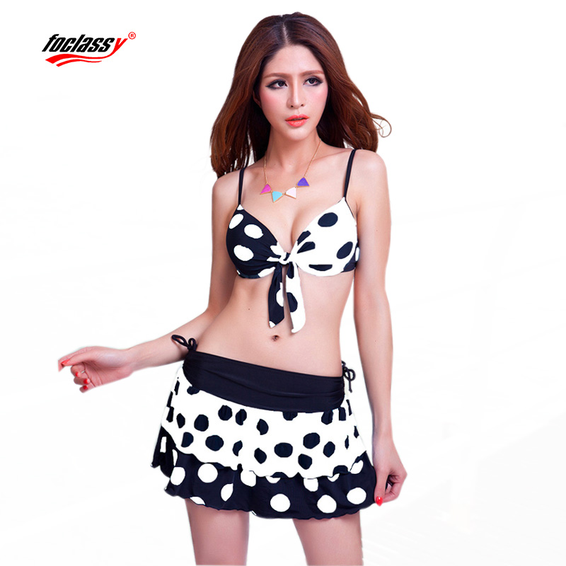Foclassy Swimsuit Skirt Dot Bikini 2017 Plus Size Swimwear Women's Swimming Suit Bandeau Bather Bathingsuit Beach Wear