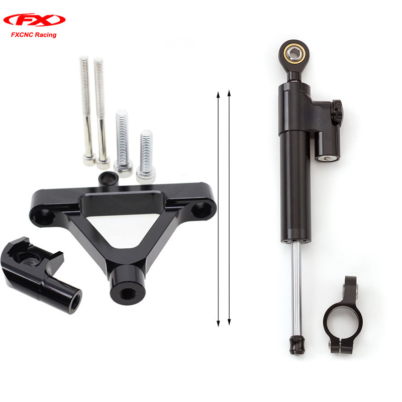 FXCNC for Kawasaki ZX6R ZX6-R 2007-2008 Motorcycle Steering Stabilizer Damper Linear Safety Control + Brackets 1 full Set aftermarket free shipping motorcycle parts eliminator tidy tail for 2006 2007 2008 fz6 fazer 2007 2008b lack