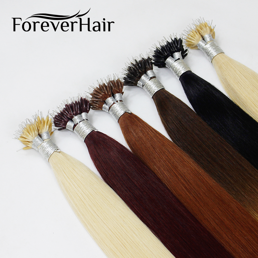 "FOREVER HAIR Remy Nano Ring Links Human Hair Extensions 0.8g/s 16"" 18"" 20"" Keratin Straight European Micro Beads Hair 50 Pieces"