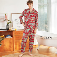 Silky Mens Sleep Pajamas Shirt Pants Suit Male Faux Silk Sleepwear Sets Casual Home Wear Nightwear Robe Bath Gown L XL XXL