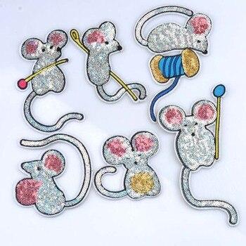 5 uds. Parches variados de lentejuelas de ratón bordados de hierro en parche para Ropa Accesorios de aplique de artesanía 11x8cm CP1517