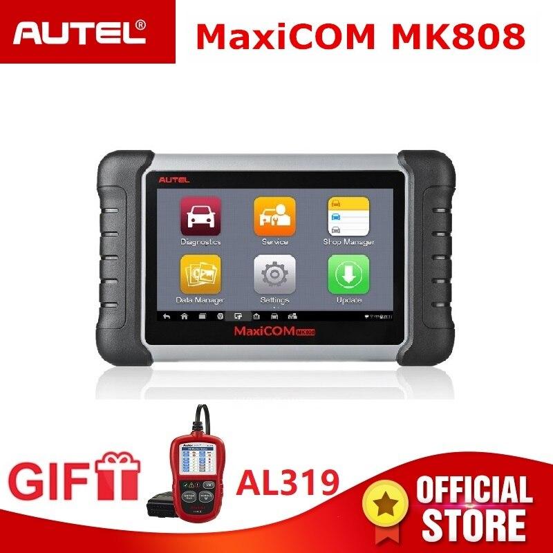 Autel MaxiCOM MK808 OBD2 Scanner OBDII Leitor de Código de Ferramenta de Diagnóstico Automotivo Programação Chave IMMO TMPS PK MX808 Presente AL319