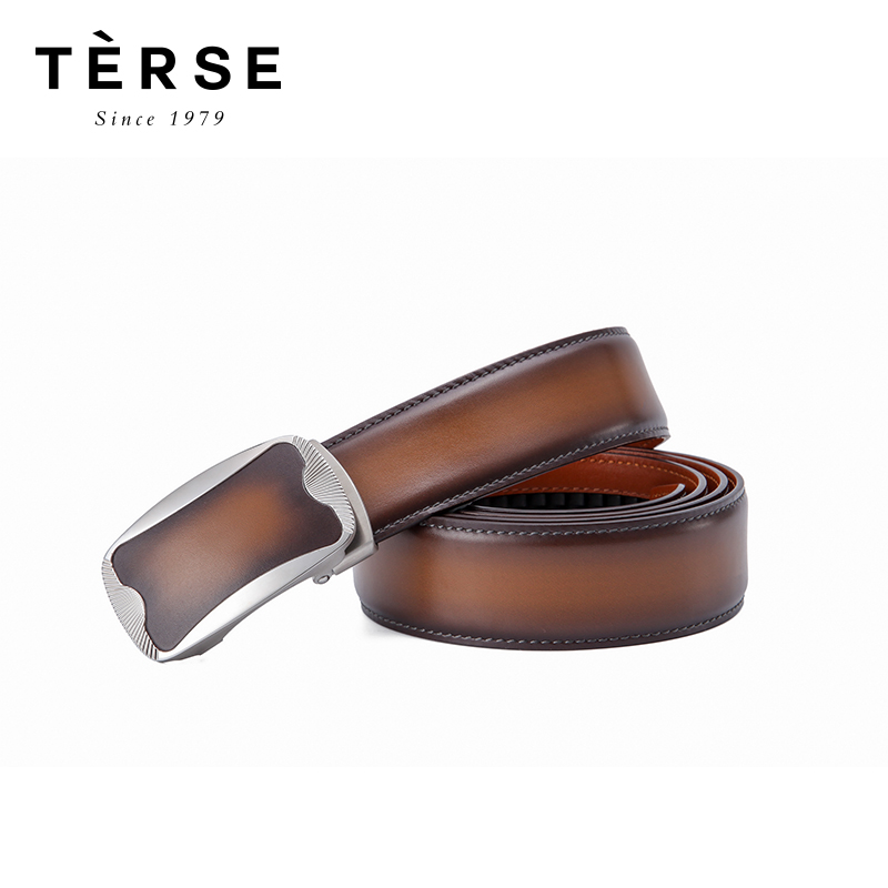 TERSE новый мужской ремень из натуральной кожи с трещоткой модный гравировальный ремень для мужчин регулируемый XN9340/XN9340 1 - 5
