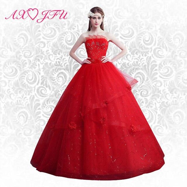 AXJFU Flower Red bridal wedding dress lace tube top princess lace red and  white wedding dress